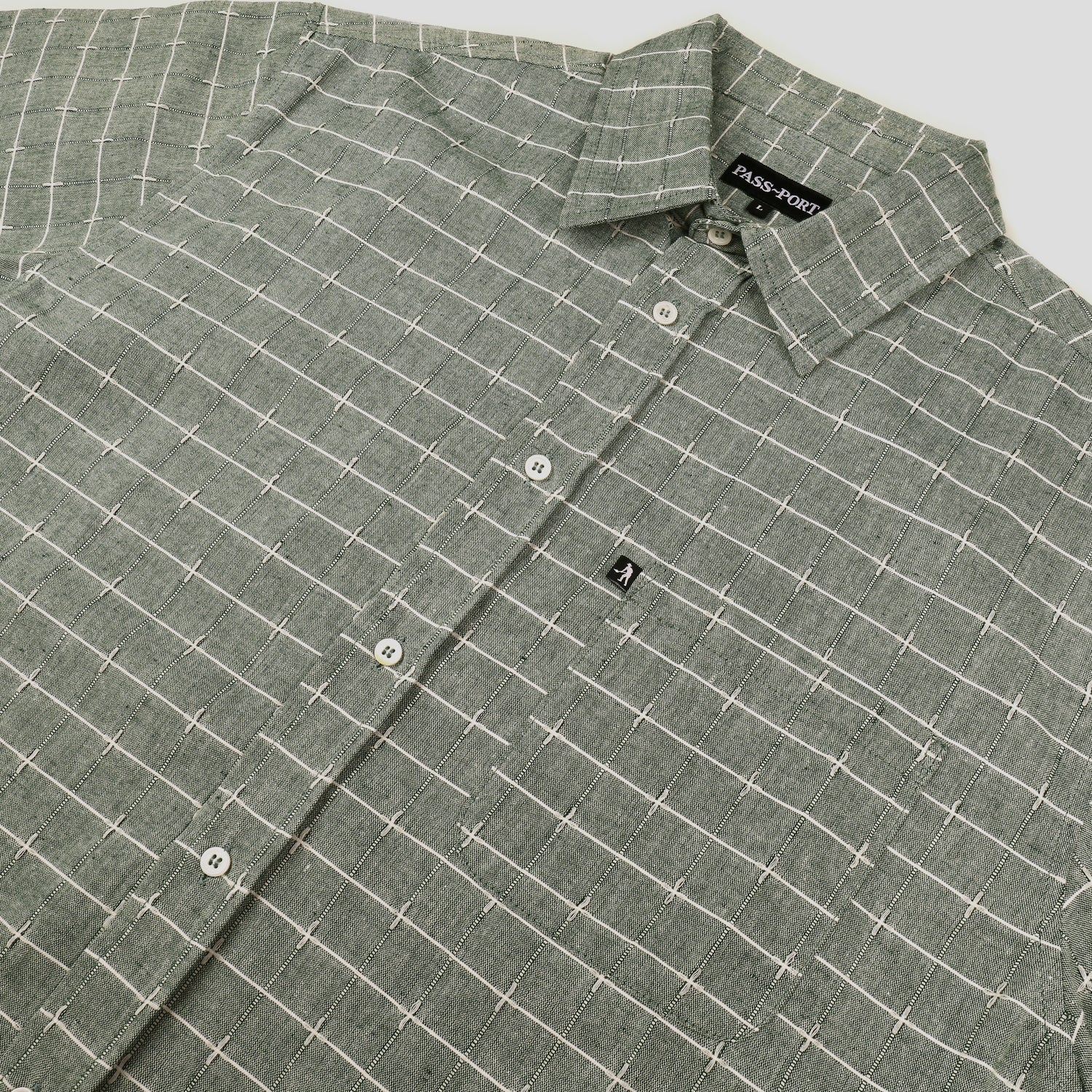 "PASS~PORT ""WORKERS LINE WIRE"" L/S SHIRT GREEN"