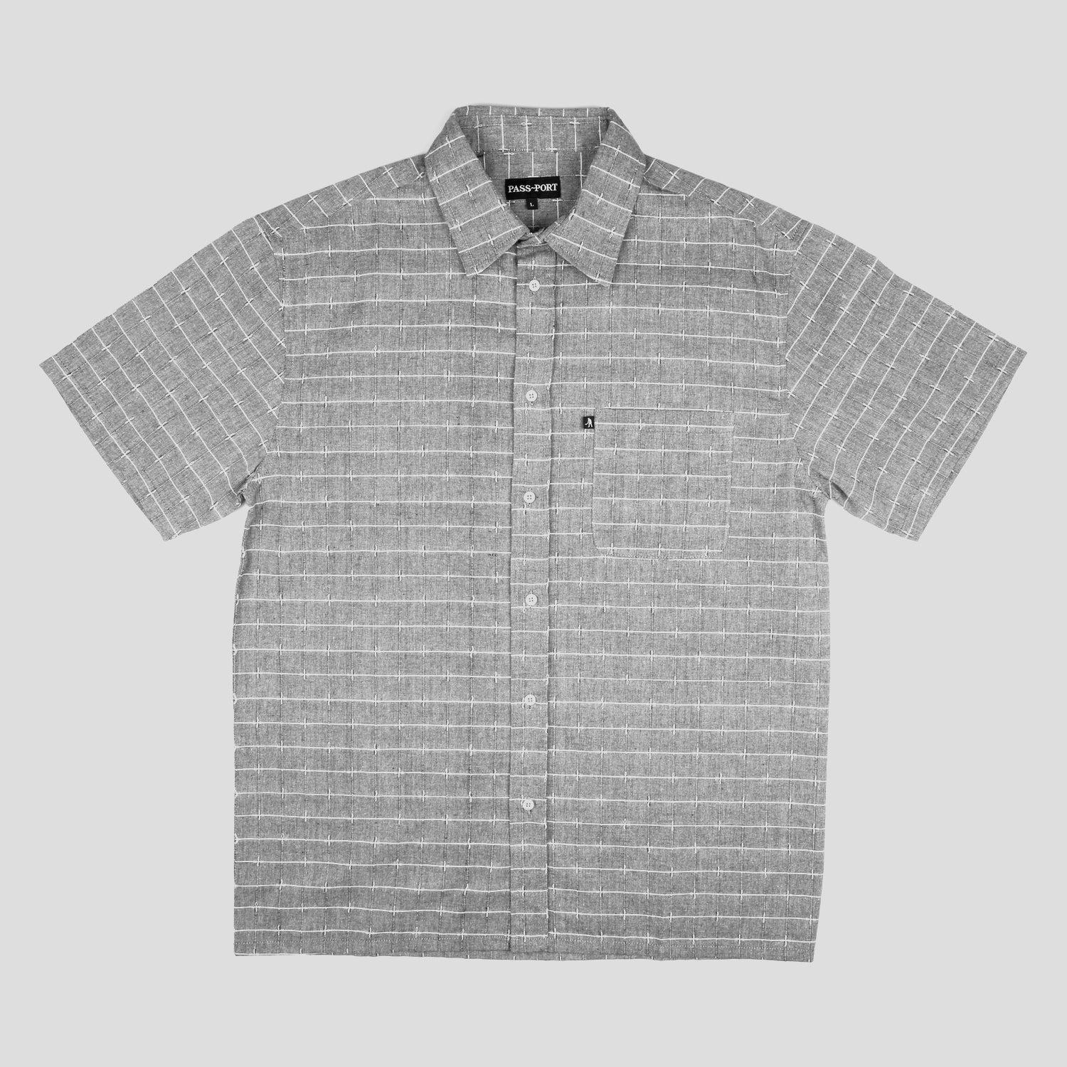 "PASS~PORT ""WORKERS LINE WIRE"" S/S SHIRT GREY"