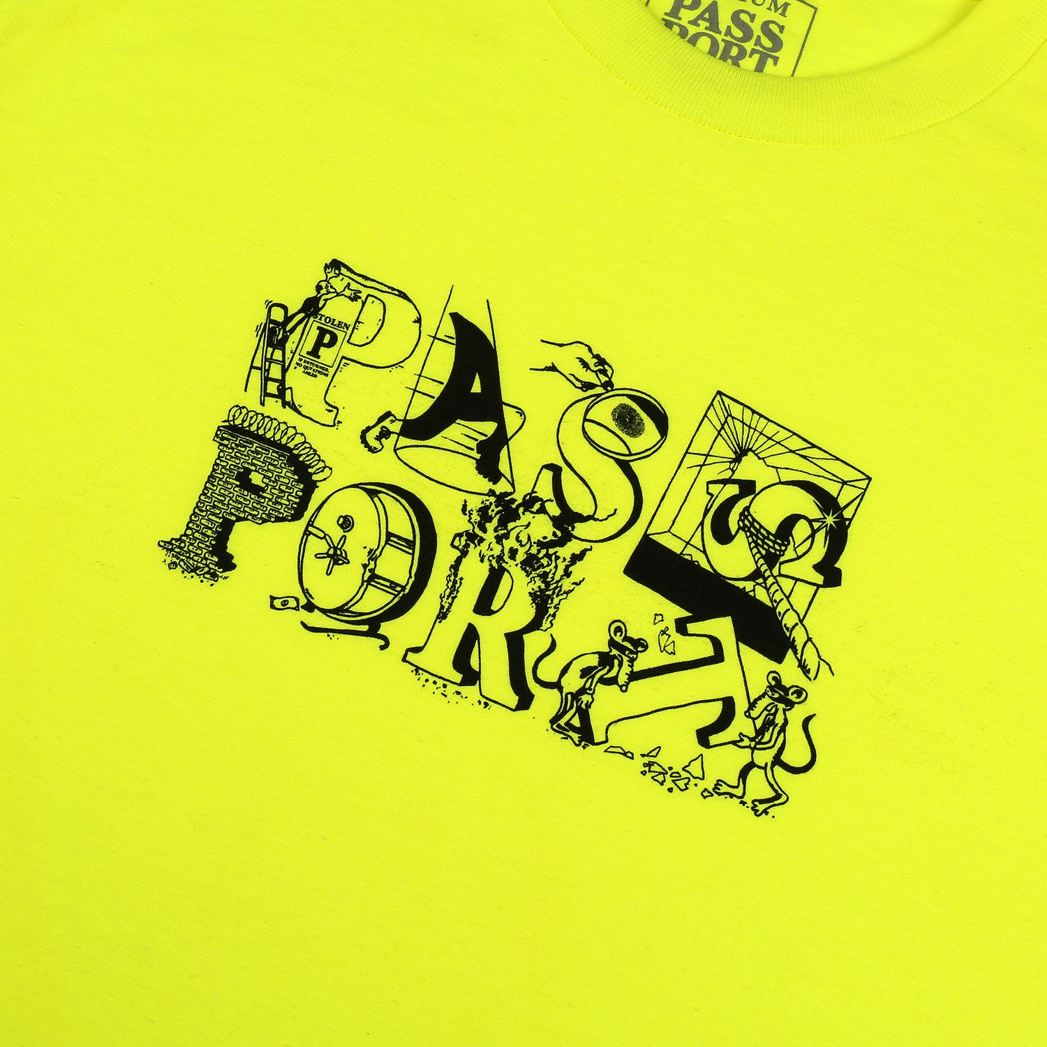 "PASS~PORT ""LOOT"" TEE SAFETY GREEN"