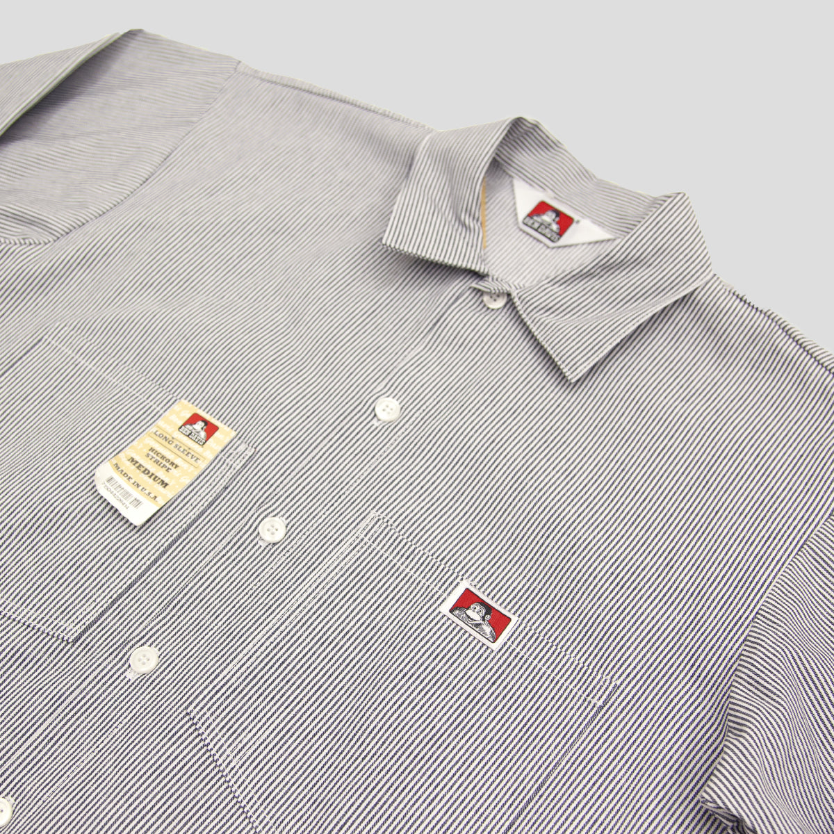 "BEN DAVIS ""BOTTON FRONT STRIPE"" L/S SHIRT"