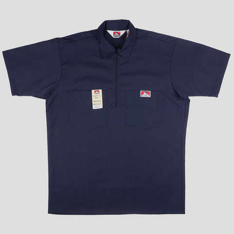 "BEN DAVIS ""SOLID"" SHIRT S/S 1/4 ZIP NAVY"