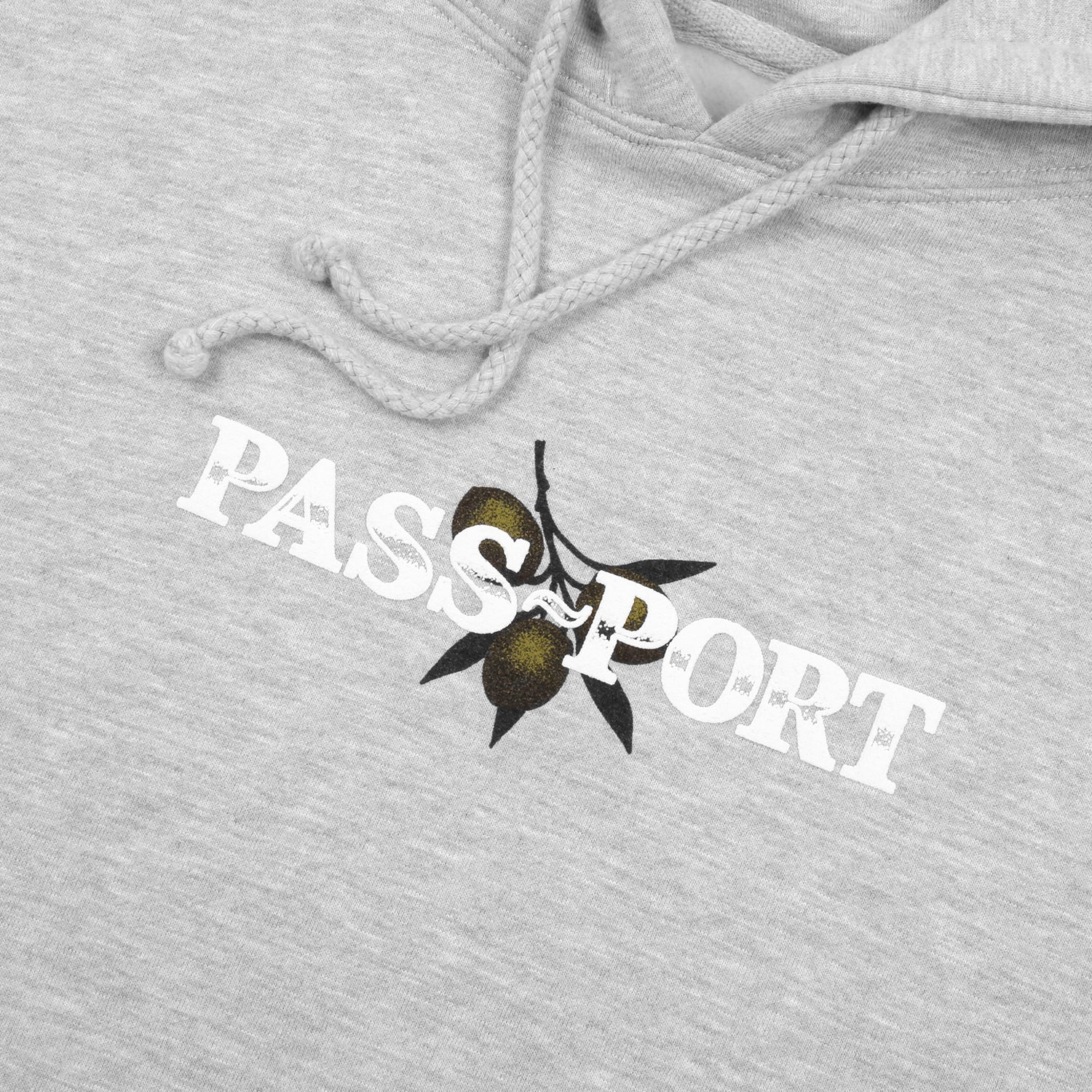 "PASS~PORT ""OLIVE"" PUFF PRINT HOOD GREY HEATHER"