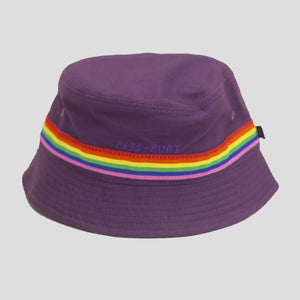 "PASS~PORT ""PRIDE"" RIBBON CANVAS BUCKET CAP PURPLE"