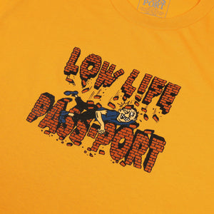 "PASS~PORT LOW LIFE ""BRICK"" TEE GOLD"