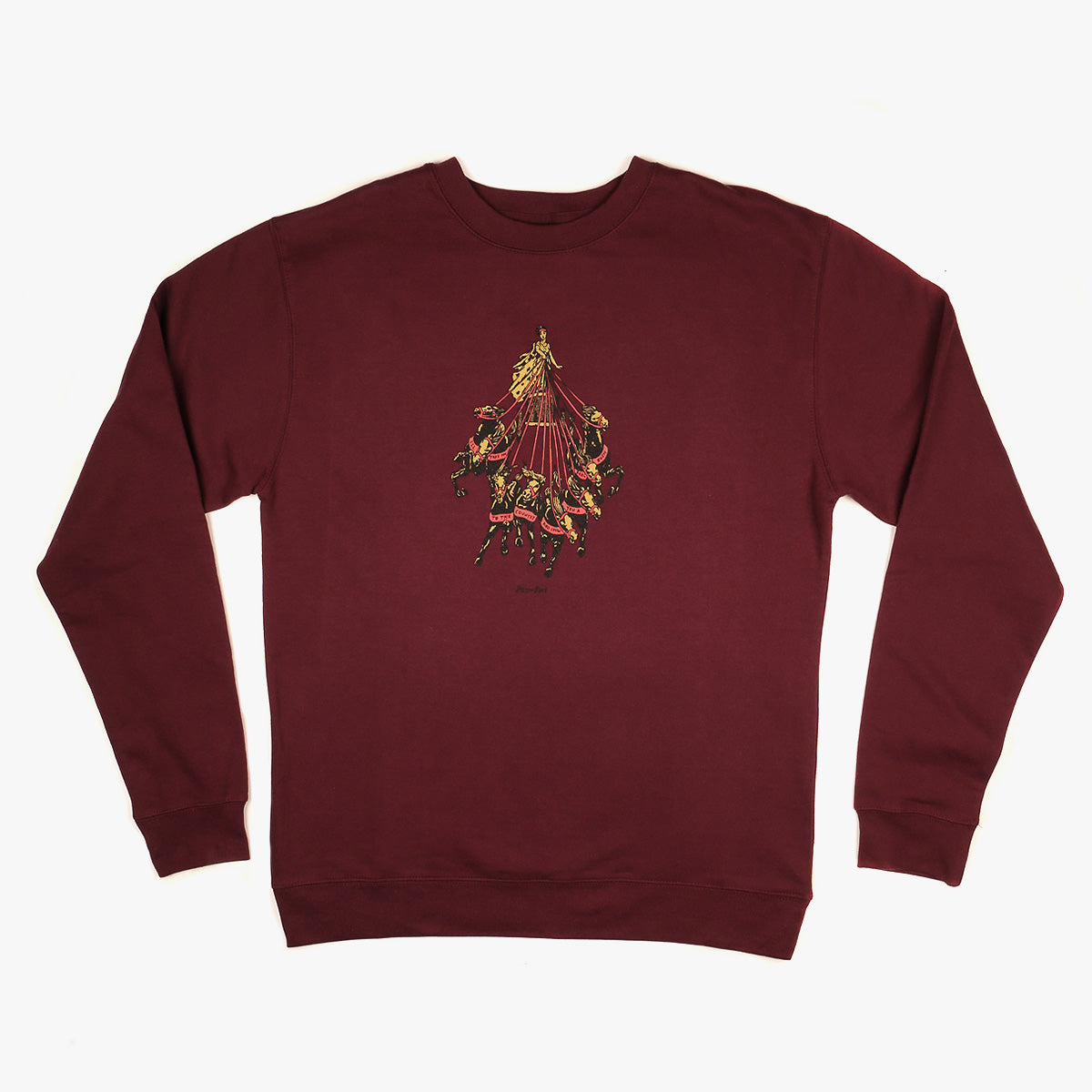 "PASS~PORT ""STATE HORSE"" SWEATER BURGUNDY"