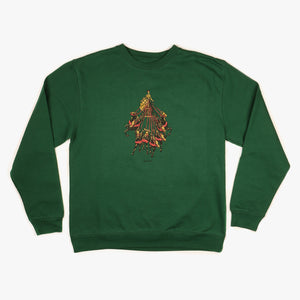 "PASS~PORT ""STATE HORSE"" SWEATER FOREST GREEN"