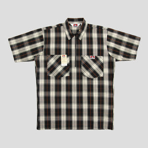 "BEN DAVIS ""PLAID"" SHIRT S/S 1/4 ZIP BLACK/CREAM"