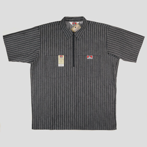 "BEN DAVIS ""BUTCHER STRIPE"" SHIRT S/S 1/4 ZIP BLACK"