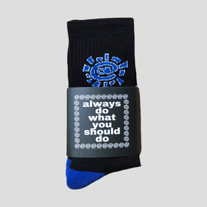 "ALWAYS DO WHAT YOU SHOULD DO ""@SUN"" SOCKS BLACK/BLUE"