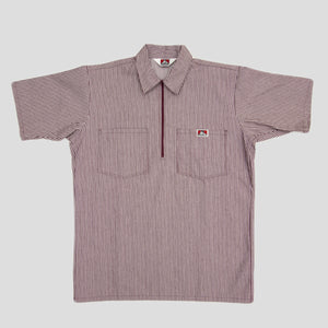"BEN DAVIS ""BUTCHER STRIPE"" SHIRT S/S 1/4 ZIP BURGUNDY"