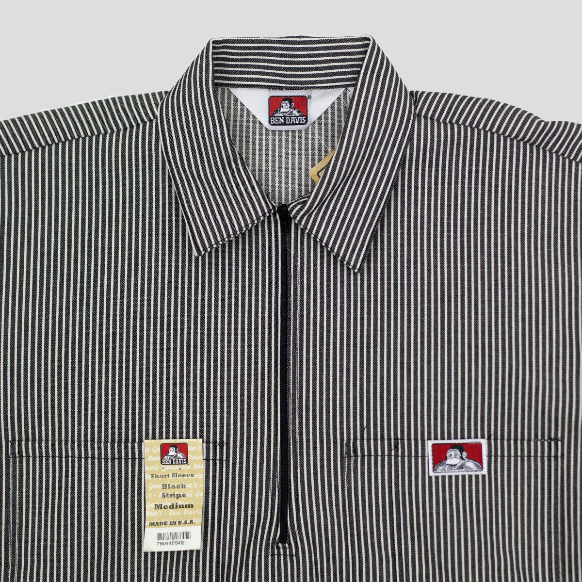 "BEN DAVIS ""STRIPE"" SHIRT S/S 1/4 ZIP BLACK"