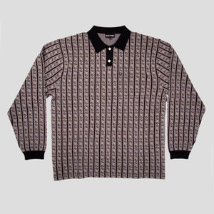 "PASS~PORT ""TILDE"" KNITTED L/S POLO GREY"