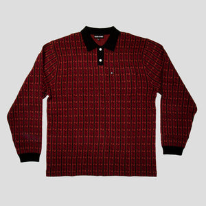 "PASS~PORT ""TILDE"" KNITTED L/S POLO RED"