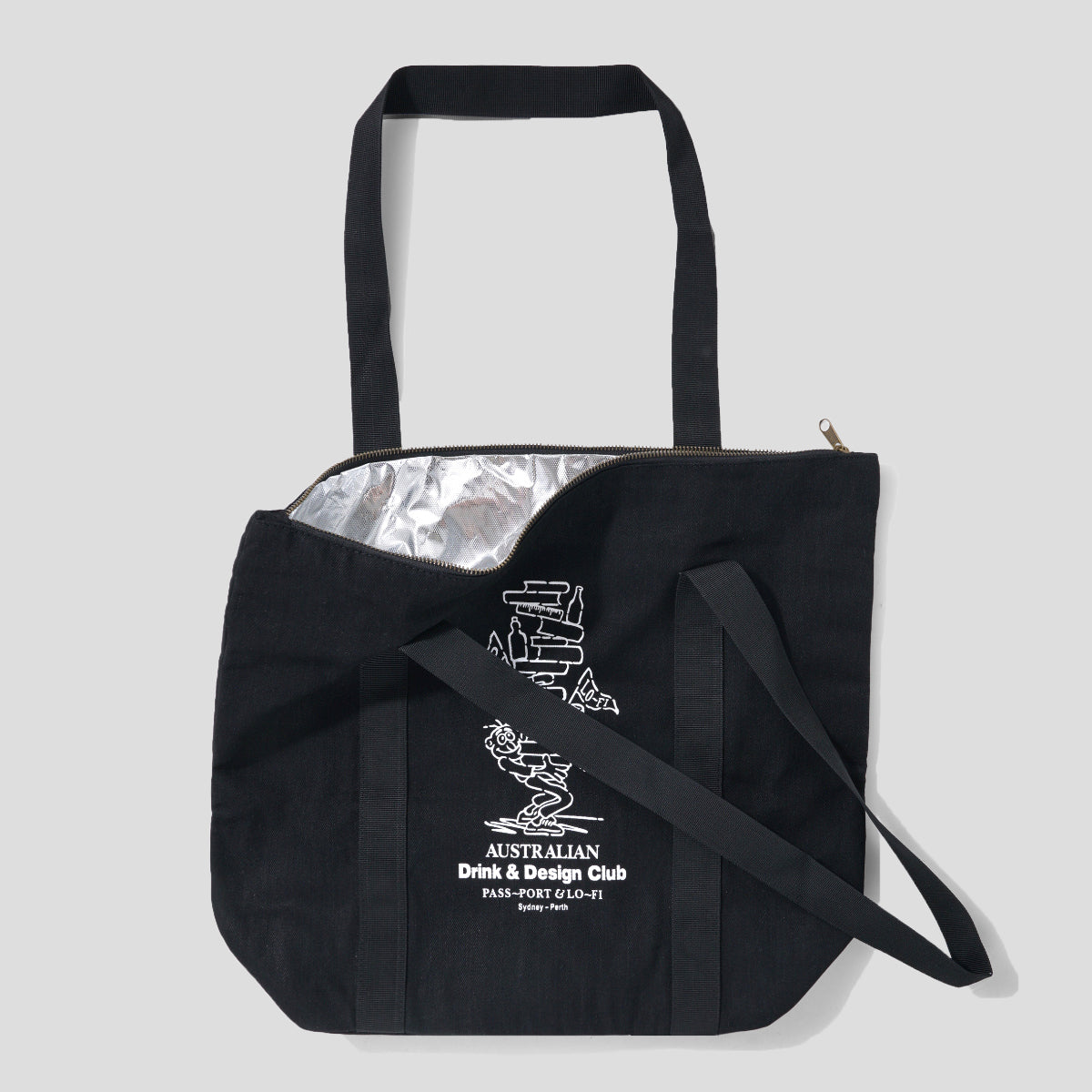 "LO-FI & PASS~PORT ""DRINK & DESIGN CLUB"" INSULATED TOTE BAG"