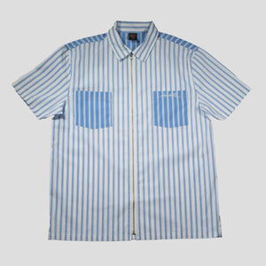 "HODDLE ""TONAL STRIPE ZIP"" SHIRT BLUE/WHITE"