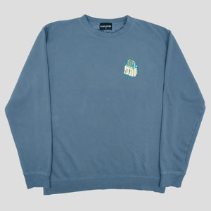 "PASS~PORT ""UNLUCKY IN LOVE"" SWEATER SLATE BLUE"