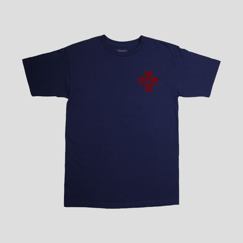 "UPS & PASS~PORT ""PREVENT THE BURN"" TEE NAVY"