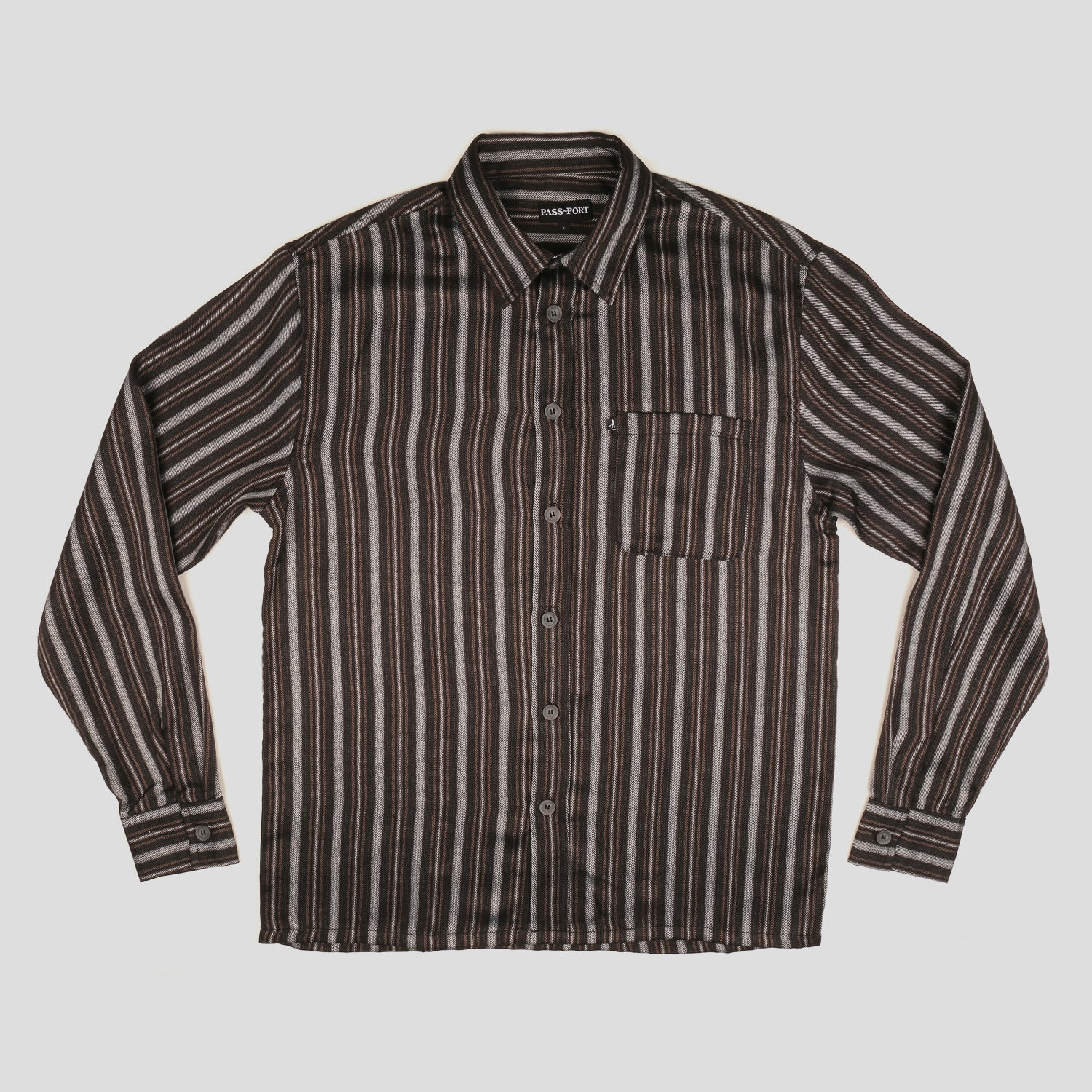 "PASS~PORT ""WORKERS STRIPES"" L/S SHIRT BLACK"