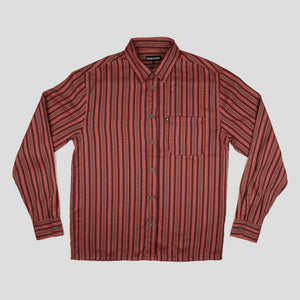 "PASS~PORT ""WORKERS STRIPES"" L/S SHIRT BURGUNDY"