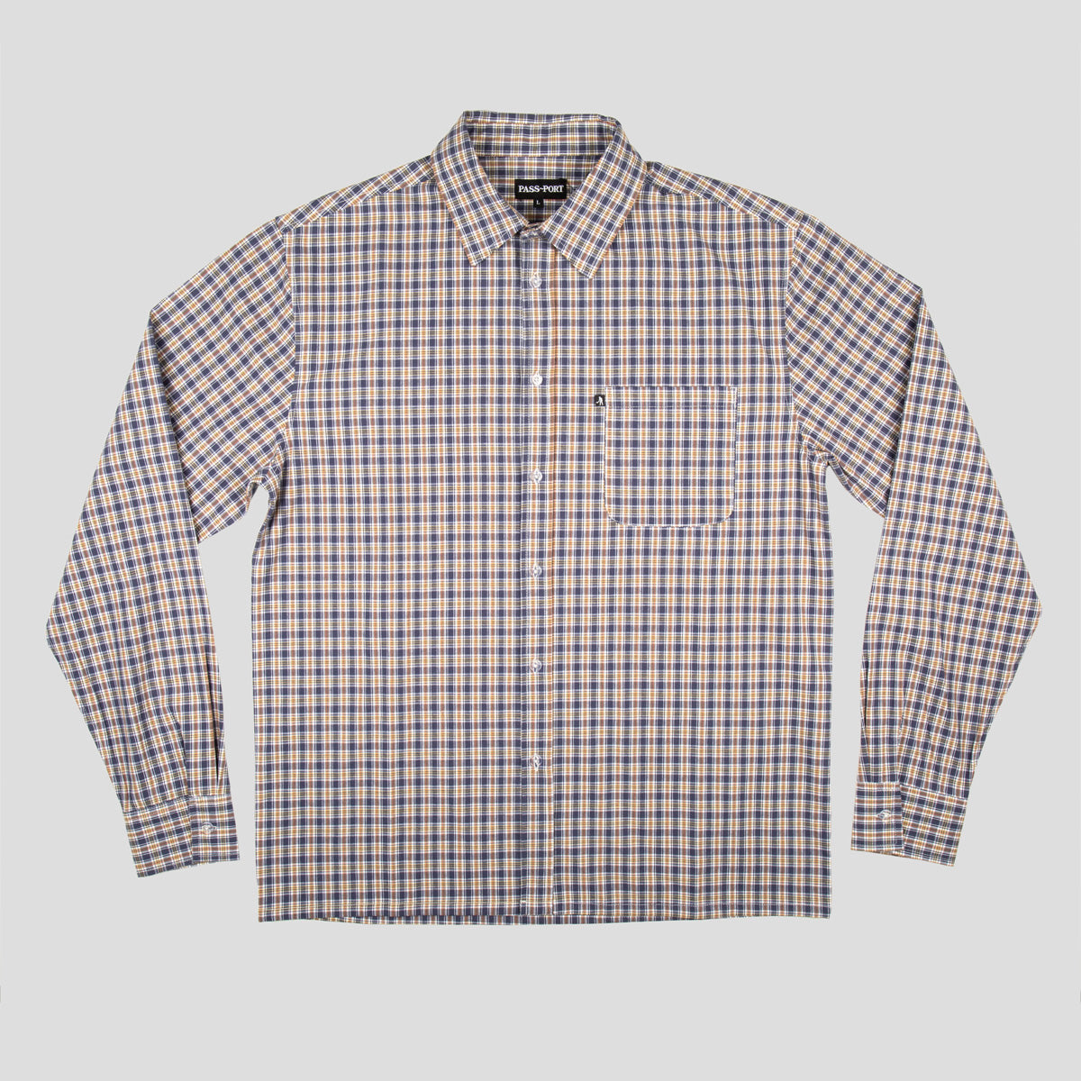 "PASS~PORT ""WOVEN CHECK"" L/S SHIRT NAVY"