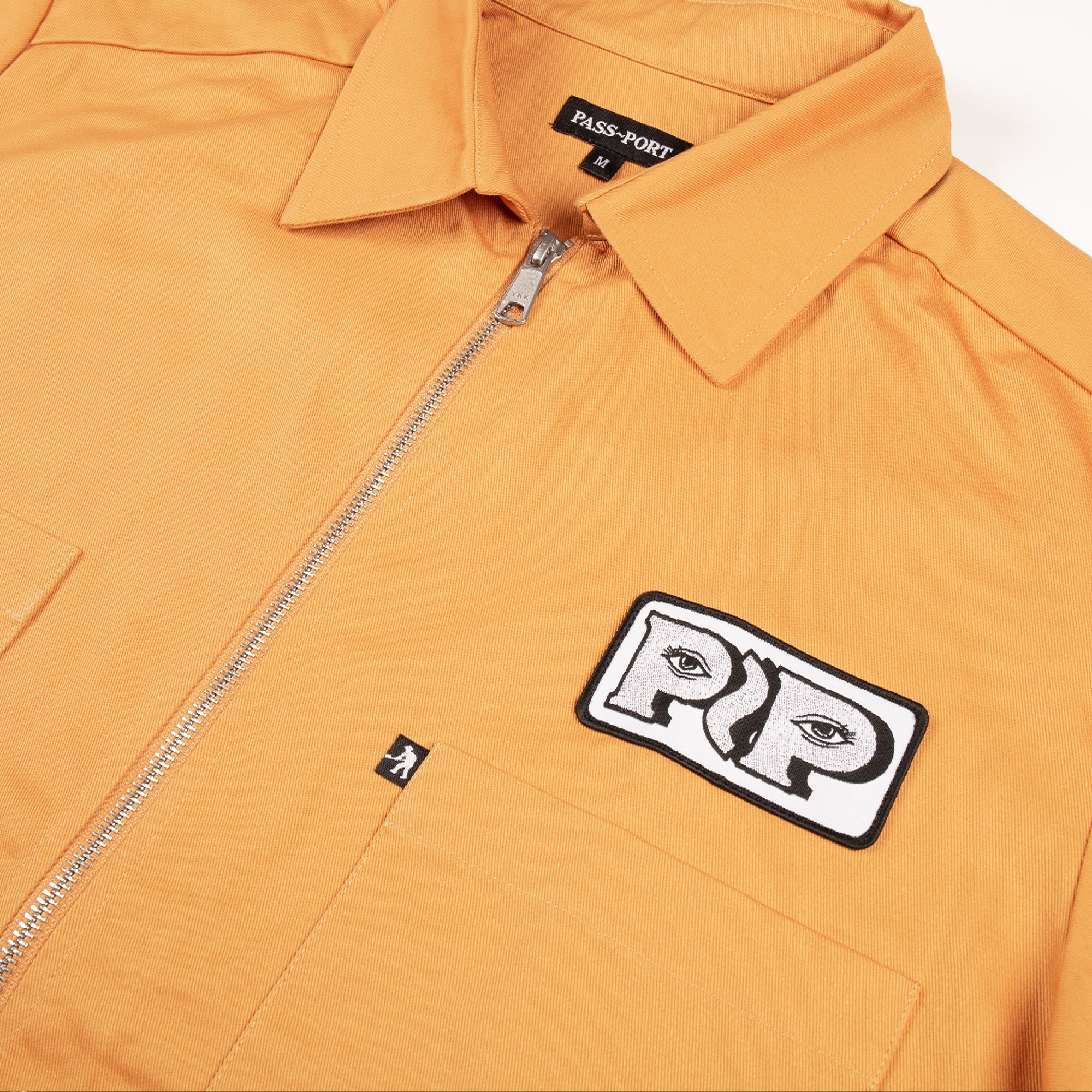 "PASS~PORT ""WORKERS ZIP UP"" S/S SHIRT MUSTARD"