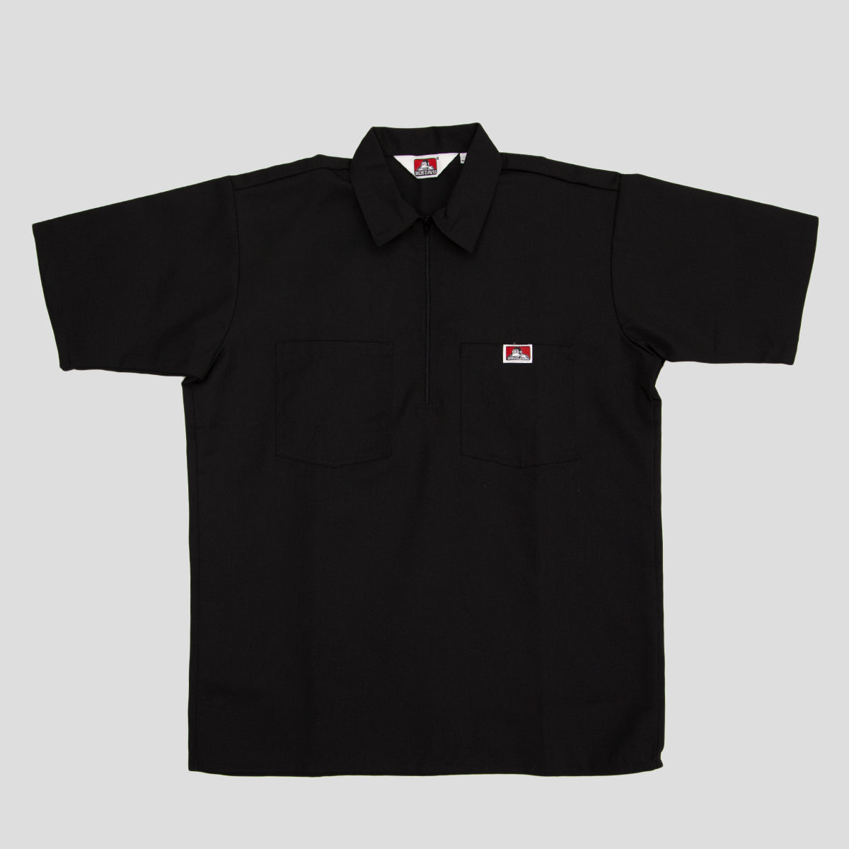 "BEN DAVIS ""SOLID"" SHIRT S/S 1/4 ZIP BLACK"