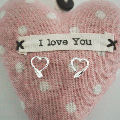 Kayak Paddle Heart Stud Earrings