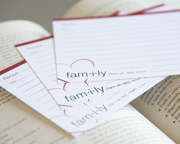 Definition of Family - Recipe Cards