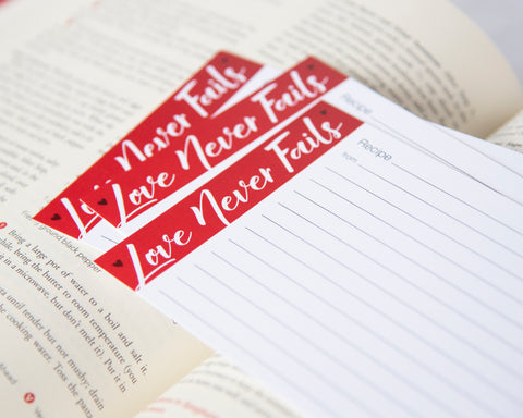 Love Never Fails - Recipe Cards