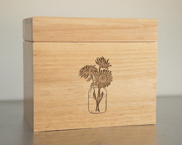 Jar of Sunflowers - Recipe Box