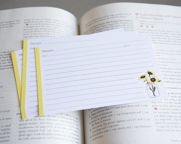 Jar of Sunflowers - Recipe Cards