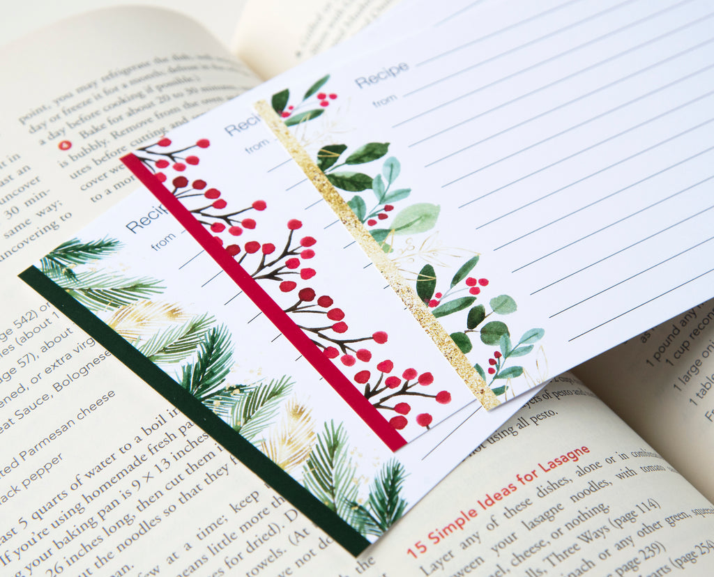 Holly Recipe Card Set of 3