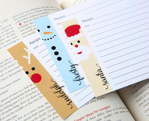 Rudolph, Frosty, Santa Recipe Cards
