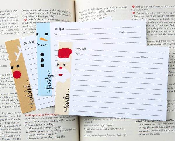 Christmas Recipe Cards - Santa, Rudolph, Frosty