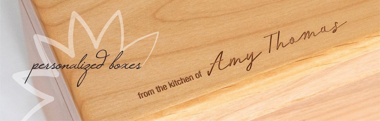 personalized wooden recipe boxes