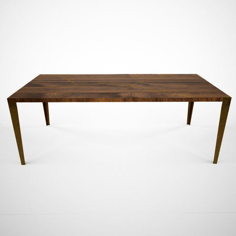 Brass and Walnut Table