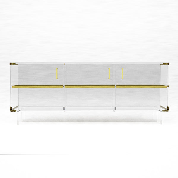 Brass and Acrylic Credenza