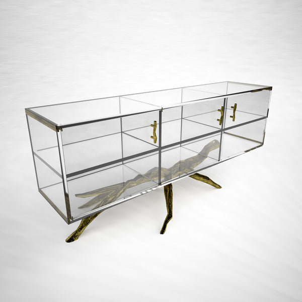 Bronze and Acrylic Organic Credenza
