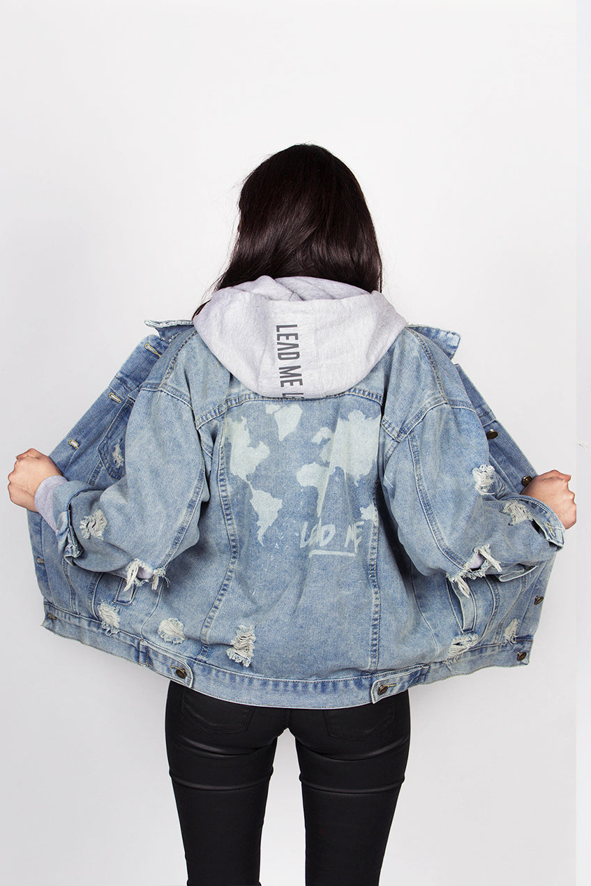 Hand Made Denim Jacket - World Map