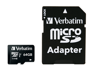 Verbatim Premium microSDXC Class 10 UHS-I Card 64GB with Adapter
