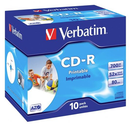 Verbatim CD-R 700MB 52x White Printable 10 Pack with Jewel Cases
