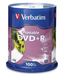 Verbatim DVD+R 4.7GB 16x White Printable 100 Pack on Spindle