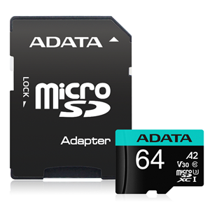 ADATA Premier Pro microSDHC UHS-I U3 A2 V30S Card with Adapter 64GB