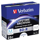 Verbatim BD-R 25GB 4x White Printable M-Disc 5 Pack with Jewel Cases