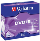 Verbatim DVD+R 4.7GB 16x 5 Pack with Jewel Cases