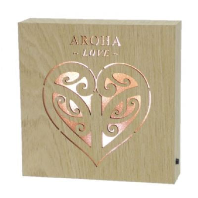Aroha Love Wooden LED block