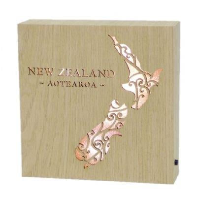 NZ Aotearoa Map Wooden LED Block