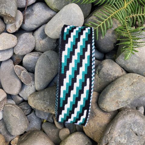 Jade Green Black and White Poutama - 2.5 inch Band