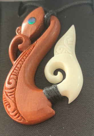 Manaia hook bone & wood pendant