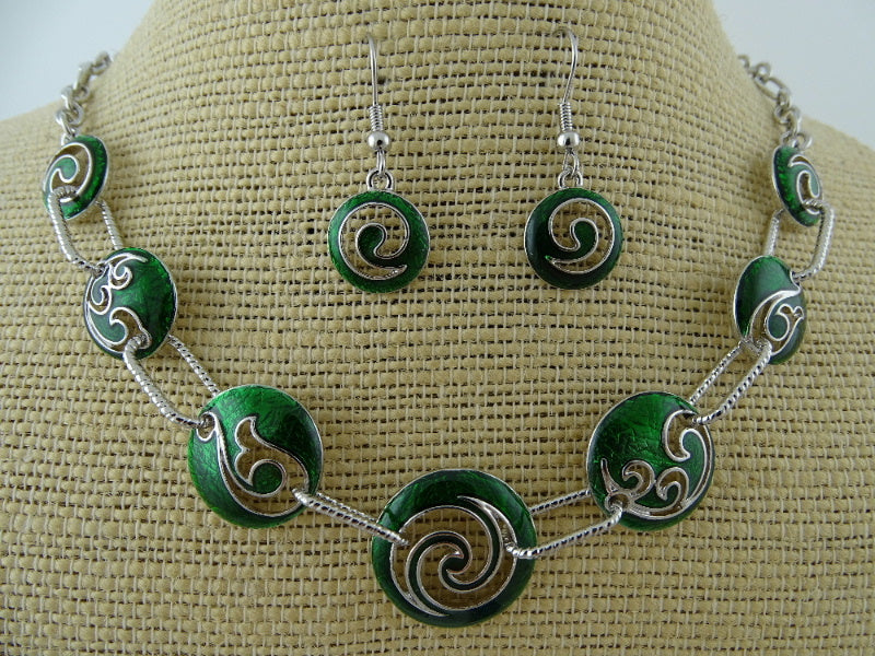 Green Koru Fish Hook Silver Fern Beads Set
